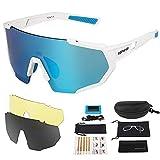 colmanda Gafas de Ciclismo Polarizadas, Gafas Ciclismo UV400, 3 Lentes Intercambiables para Hombres y Mujeres, Gafas Sol...