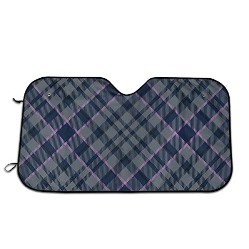 "Label Love Fashion Scots Style Tartan Plaid Personality Windshield Sun Shade Sunshades Keep Vehicle Cool Protect Your Car from Sun Heat & Glare Best Uv Ray Visor Protector Size: 27.5""X 51"""