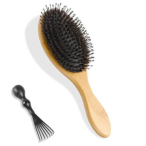 ANGNYA Haarbürste Wildschweinborsten Bürste mit Nylonstiften Fönbürste Professionelle Bambus Stylingbürste für Alle Nassen oder Trockenen Haare