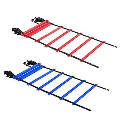 KMX 2 Pack 20ft Agility Ladder (Blue and Red) – Speed Agility Training Ladder with Two Carry Bags