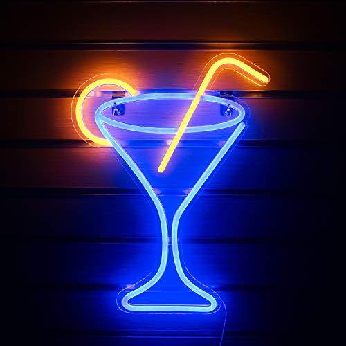"""Copa de cóctel Letreros de neón Luz de letrero de neón Luz de noche grande para la decoración de la habitación Bar Pub Playa Decoración de arte de la pared Letrero Operado por USB (17""""x 13"""")"""