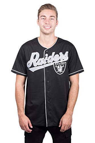 Ultra Game NFL Las Vegas Raiders Mens Mesh Baseball Jersey Tee Shirt, Team Color, Small