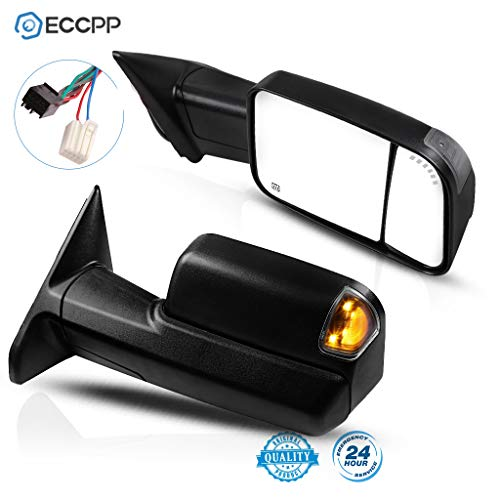 ECCPP Tow Mirrors Towing Mirrors fit for 2011-2018 Ram 1500 2500 3500 2009-2010 Dodge Ram 1500 with Left Right Side Power Adjusted Heated Turn Signal Puddle Light with Black Housing