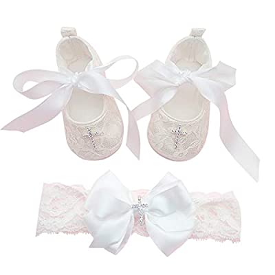 Glamulice Baby-Girls Newborn Satin Christening Baptism Floral Embroidered Dress Gown Outfit (Label Size 6M / 6-12 Months, Off White Shoes & Handmade Headband)