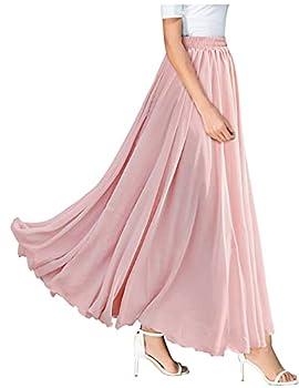 L VOW Vintage Elastic Waist Ankle-Length Maxi Long Skirt for Women  W01- Blush Pink Medium