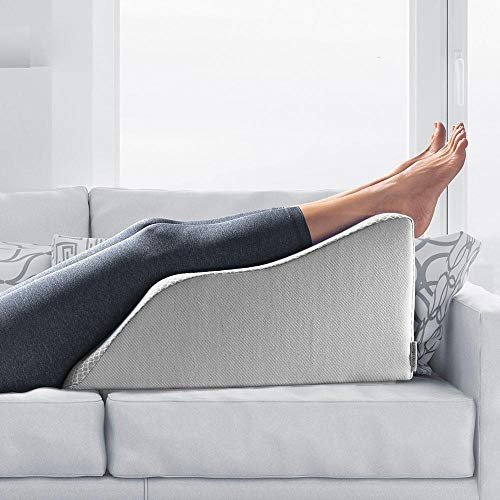 Lounge Doctor Elevating Leg Rest Pillow Wedge Foam w Heather Grey Cover Medium 18' Foot Pillow Leg Support Leg Swelling Vein Issues Lymphedema Restless Legs Pregnancy