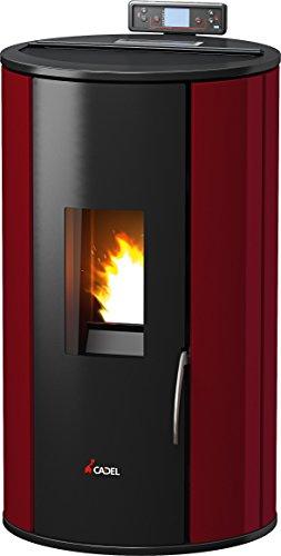 Pelletofen Cadel Rondò 3 Luft Metall rot Made in Italy 100% Qualität mit Fernbedienung, Heizung für Zuhause, Büro, Schlafzimmer, Geschäft