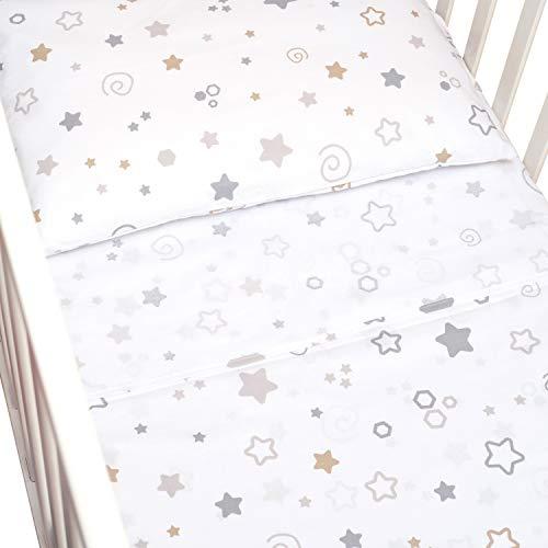 CangooCare© - Juego de sábanas de 3 piezas para cuna, ropa de cama, 60 x 120 cm, 100 % algodón, sábana bajera/funda de edredón reversible, estrellas