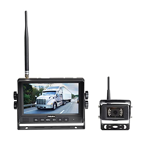 Haloview MC7108 Wireless RV Backup Camera System 7 Monitor Built in DVR Rear View Camera with Infrared Night Vision and Wide Viewing Angle for Truck/Trailer/RV/Pickups/Camping Car/Van/Farm