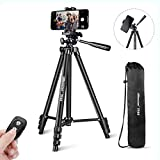 "UBeesize Phone Tripod, 50"" Adjustable Travel Video Tripod Stand with Cell Phone Mount"