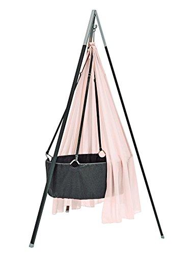 Ausstellungsstück Leander Babywiege Wiege grau Set inkl. Comfort Träumeland Softschaummatratze, Schleier soft pink, Haken und Stativ grau