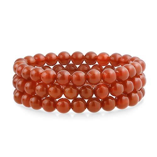 Bling Jewelry Conjunto de 3 Simple apilamiento Redondo Carnelian Bola de Piedra...