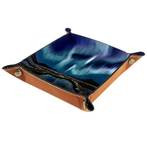 Petite boîte de rangement, plateau de valet pour homme,Marais de la nébuleuse ,Organisateur de fourre-tout en cuir pour bijoux à clés