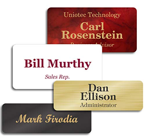 Personalized Name Tags with Pin, Magnetic or Adhesive Backing, Choice of 15 Colors, 1