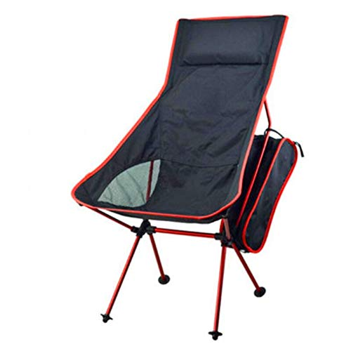 SPFOZ Haus Dekoration Light Moon Chair Lightweight Fishing Camping BBQ-Stühle Folding Extended Wandersitz Garten Ultralight Büro Wohnmöbel (Color : Rot)