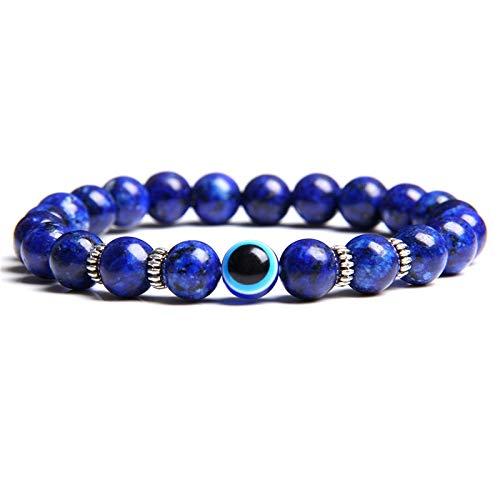 Pulsera De Piedra De Ojo De Tigre De Lava Tibetana Natural 8 Mm para Hombres Mujeres Lucky Blue Griego Turco Diablo Mal De Ojo Pulsera Joyería Masculina