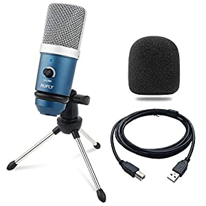 USB Microphone, RUFLY Condenser Microphone USB Desktop PC Mic for Streaming, Podcast, PS4 Gaming, Skype Chatting, YouTube Videos, Voice Overs - Compatible with Mac PC Laptop Desktop Windows