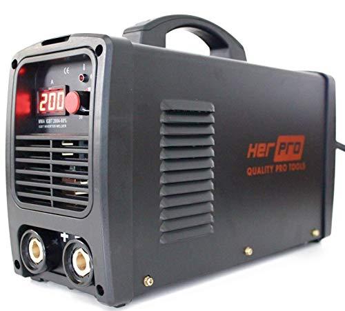 HERPRO Soldador Inverter Profesional IGBT 200 Amperios para soldadura por arco MMA - 60%...