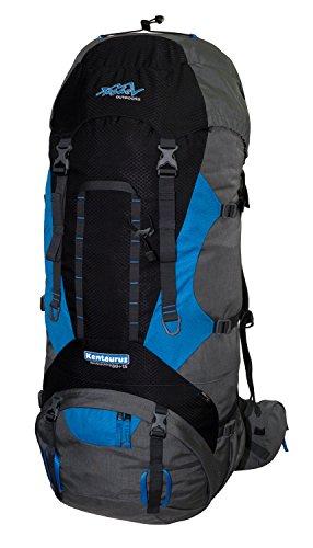 Tashev Outdoors Kentaurus Trekkingrucksack Wanderrucksack Damen Herren Backpacker Rucksack groß 80l Plus 15l Schwarz & Grau & Blau (Hergestellt in EU)