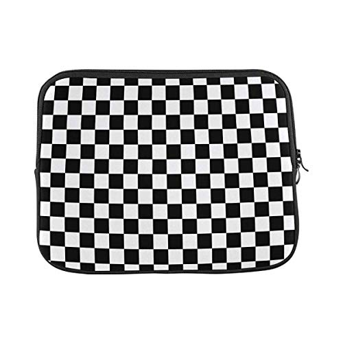 INTERESTPRINT Laptop Carrying Bag Black and White Checkered Pattern Notebook Sleeve Case Cover 15.4 Inch 15.6 Inch
