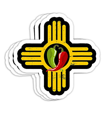 New Mexico Southwest Zia with Red and Green Chile Gift Decorations - 4x3 Vinyl Stickers, Laptop Decal, Water Bottle Sticker (Set of 3)