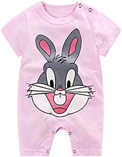Baby Girl Baby Boy Pink Infant Romper Pyjama Toddler Cartoon Rabbit Outfit Jumpsuit Clothe set Short Sleeve Soft Dress Sle...