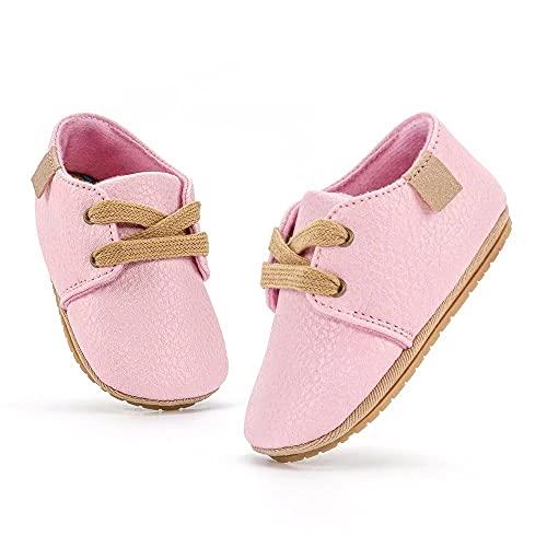 MrToNo Krabbelschuhe Leder Lauflernschuhe Mädchen Jungen Babyschuhe 0-6 Monate 6-12 Monate 12-18 Monate Weiche Lederpuschen Lernlaufschuhe Baby Hausschuhe-FENSE-0-6M