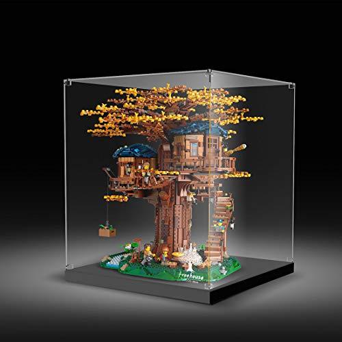 MAJOZ Caja expositora acrílica para modelos, compatible con Lego Tree House 21318 (no incluye el modelo Lego), versión con diseño de hebilla de cristal.