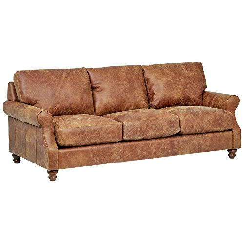 """Stone & Beam Charles Classic Oversized Leather Sectional Sofa Couch, 92""""W, Saddle Brown"""