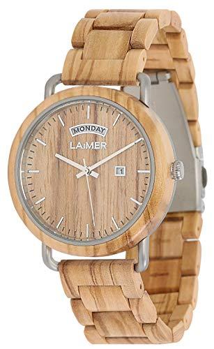 LAiMER Holzuhr FILIPPO - Herren Armbanduhr aus italienischem Olivholz, Grosse Datums und Tagesanzeige, atmungsaktives Holzarmband Modell 0111, Geschenk- Verpackung aus Holz