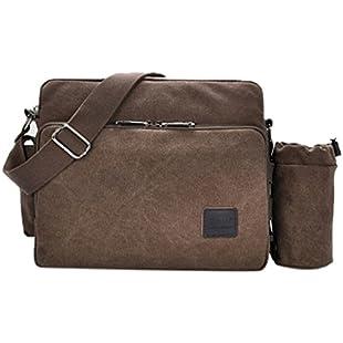 Fansela(TM) Multifunction Canvas Messenger Handbag Outdoor Crossbody Shoulder Pack,Coffee with Removeble Pocket:Animewalk