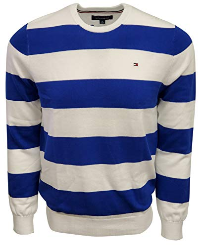 Tommy Hilfiger Blue and White Striped Sweaters Men