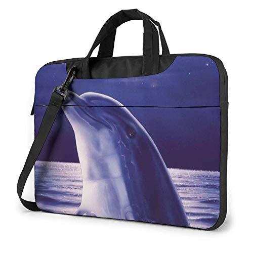 Bolso del Ordenador portátil del delfín del Brillo Bolso del Mensajero Maletín Bolso de Trabajo de la Honda de la Bandolera del Hombro