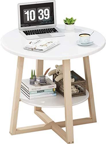Telefoontafel woonkamertafel tafelpoten massief hout dubbellaags tafel rond voor thuis tuintafel multifunctionele bloemenstandaard (kleur: A2, grootte: 5050 cm) 7 7