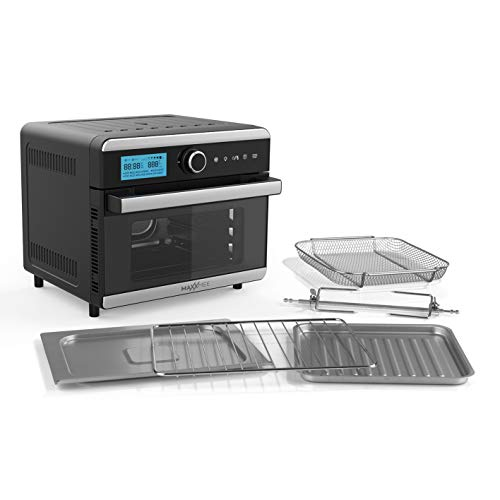 MAXXMEE Horno de aire caliente digital – 18 litros de capacidad | Horno de aire caliente digital en diseño compacto | Con temporizador y función de mantenimiento del calor [negro/acero inoxidable]