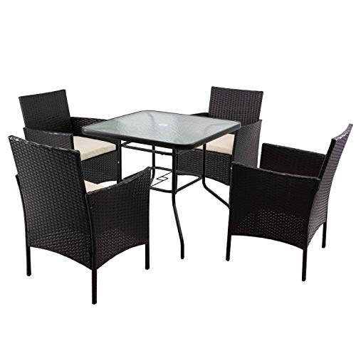 Devoko 5 Piece Patio Dining Set Outdoor Dining Table and Chairs Outdoor Wicker Rattan Chairs Set with Glass Table (Beige)