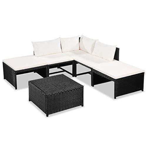 Festnight Gartensofa-Set 15-TLG. | Poly Rattan Lounge Set Lounge Möbel | Lounge Sofa Garnitur | Rattan Gartenmöbel Gartenset | Garten Sitzgruppe | Gartengarnitur | Schwarz und Cremeweiß