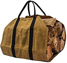 khaki Firewood Carrier Log Carrier Wood Carrying Bag for Fireplace 16oz Waxed Canvas - Tool Organizers Storage Bags