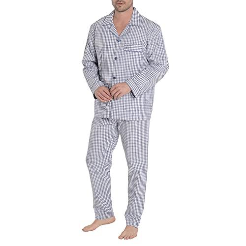 El Búho Nocturno - Pijama Hombre Largo Solapa Popelín Cuadros Premium The Gentlemen's Choice Azul Talla 4 (L) Celeste Azul-Cuadros 100% algodón