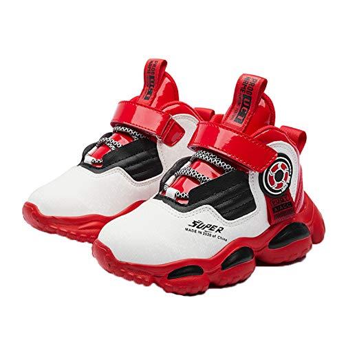 Calzado Deportivo para niños Primavera otoño e Invierno Calzado Deportivo Mid-Top cómodo Costuras de Cuero Zapatos Planos Antideslizantes Variedad de Zapatos Casuales Zapatos de Baloncesto