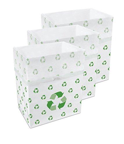 Clean Cubes - Botes de Basura y contenedores de Reciclaje Desechables de 13 galones, Paquete de 3 (Reciclado)