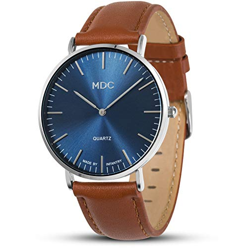 MDC Herren Armbanduhr Lederarmband Braun Analog Quarz Herrenuhr Klassisch Blau Minimalistische Geschenk für Männer Ultradünne Herrenarmbanduhr mit Echtes Leder