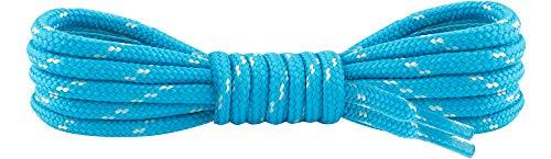Ladeheid Qualitäts-Schnürsenkel LAKO1003, Elastische Rundsenkel für Arbeitsschuhe und Trekkingschuhe aus 100% Polyester, ø ca. 5 mm Breit, 25 Farben, 60-220 cm Länge (Türkis/Eisberg, 150 cm/ø 5 mm)