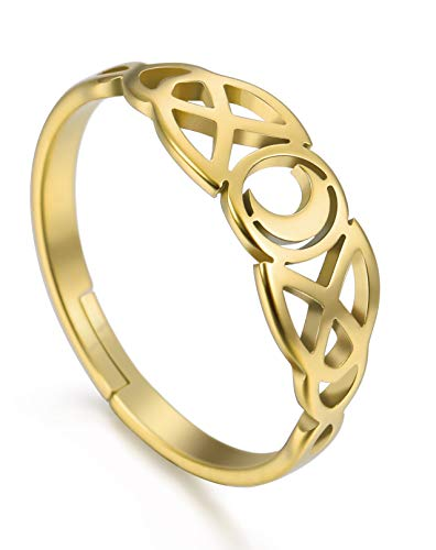 Amaxer Irish Celtic Moon Adjustable Women Ring Stainless Steel Gold Jewelry…