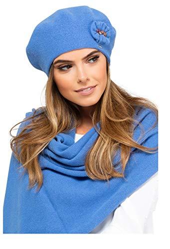 Kamea - Winterset für Damen Pesaro - Baskenmütze mit passendem Schal - verschiedene Farbauswahl, Winter Set:Blau