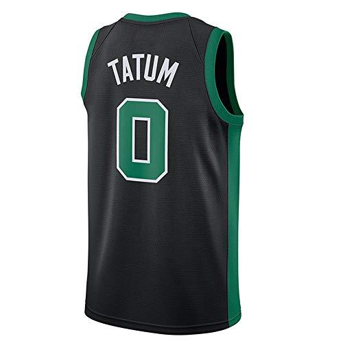 LAMBO Herren NBA Basketball Jersey Boston Celtics # 0 Jayson Tatum Mesh Bestickt ärmellose Sport Fitness T-Shirts Fans Trikots (Black,XL)