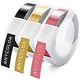 Anycolor 3D Etiquetas Embossing Impresora cinta de etiquetas Compatible para usar en lugar de DYMO Junior Omega Motex E-101 E-303, Auto-adhesive, Blanco sobre Negro/Dorado/Rosa 9mmx3m