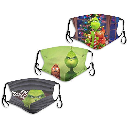 Face Mask The Green Grinch Dogs Christmas Back Up Dis-ney 3PC with 6 Filters Reusable Washable Adjustable Masks Men Women Made in USA