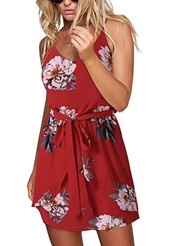 ACHIOOWA Sommerkleid Damen Ärmellos Strandkleid Chiffon V-Ausschnitt Blumen Casual Sexy Mini Trägerkleid Rot S