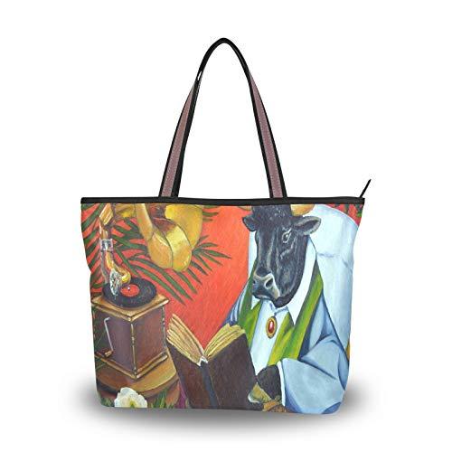 NaiiaN für Frauen Mädchen Damen Student Leichter Riemen Bull Cow Book Wicker Stuhl Umhängetaschen Geldbörse Shopping Handtaschen Einkaufstasche